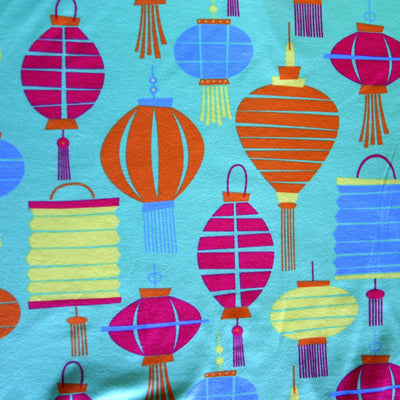 Colorful Lanterns Cotton Interlock Fabric