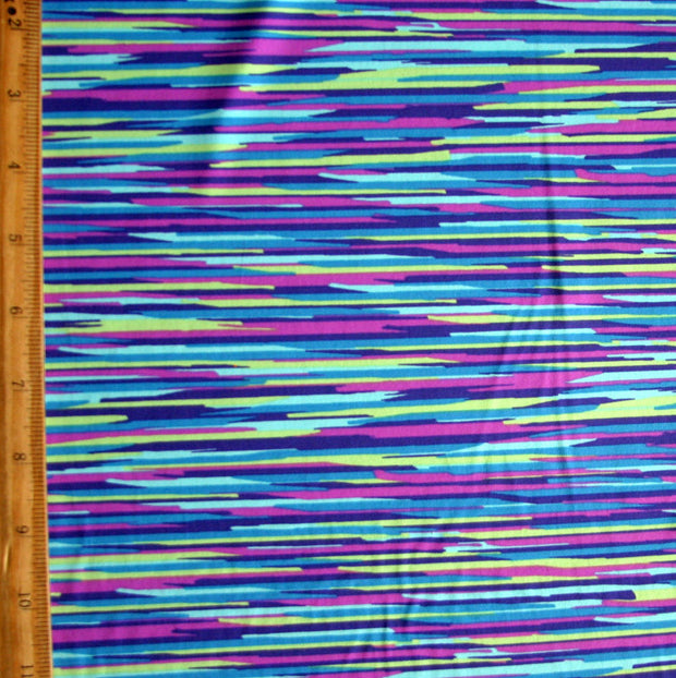 Lime, Purple, Peacock, Aqua Streak Stripe Nylon Lycra Swimsuit Fabric