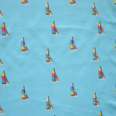 Colorful Sailboats on Blue Microfiber Boardshort Fabric - Seconds - Not Quite Perfect