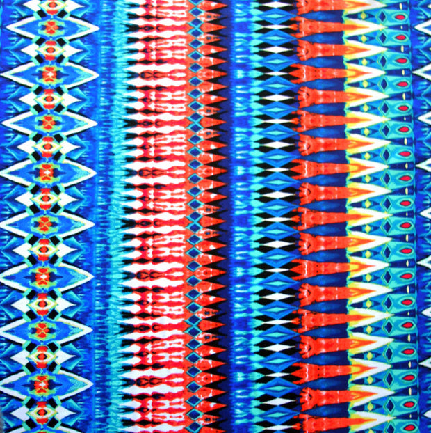 "Colorful Seismic Vertical Stripes Nylon Lycra Swimsuit Fabric - 15"" Remnant"