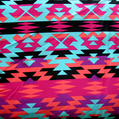"Colorful Tribal Nylon Lycra Swimsuit Fabric - 15"" Remnant Piece"