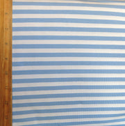 "Cornflower and White 3/8"" wide Stripe Cotton Lycra Knit Fabric"