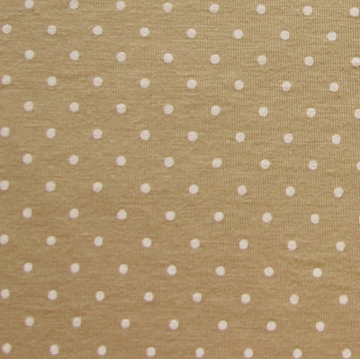 Cream Pin Dots on Taupe Knit Fabric