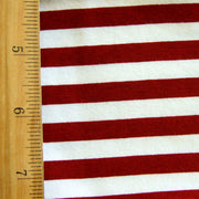 Crimson and Natural Stripes Cotton Lycra Knit Fabric - 15 Yard Bolt