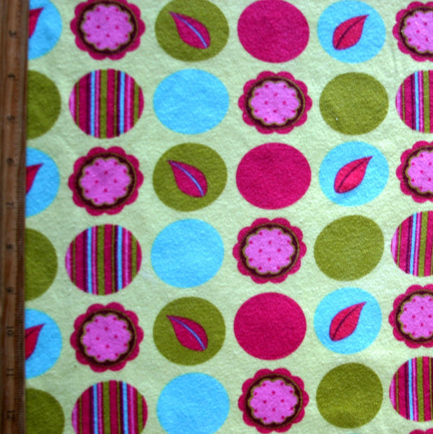 Daisies and Mod Dots Cotton Interlock Fabric