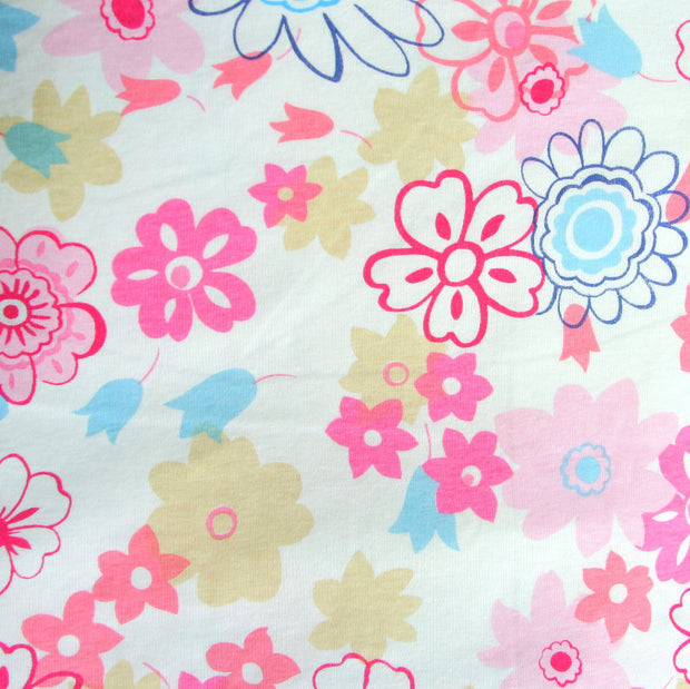 Daisy Delight Cotton Knit Fabric, Pink Colorway