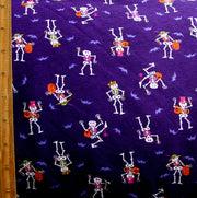 Dancing Skeletons Cotton Lycra Knit Fabric