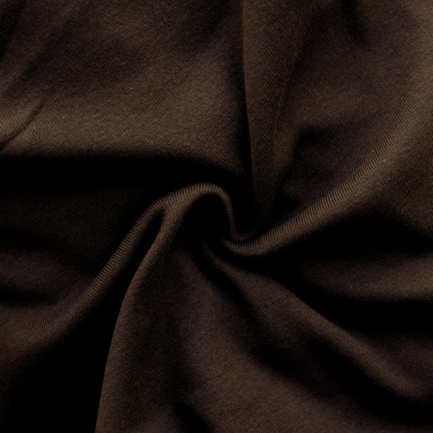 Dark Chocolate Brown Cotton Interlock Fabric