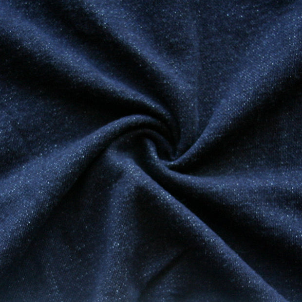 Very Dark Navy Blue Cotton French Terry Fabric