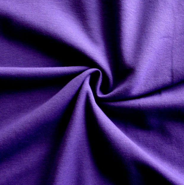 Dark Purple Cotton Lycra French Terry Fabric