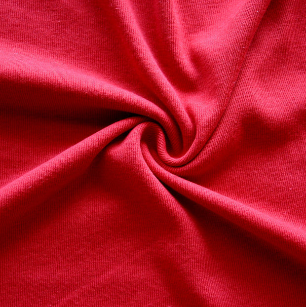 Dark Red Cotton Rib Knit Fabric