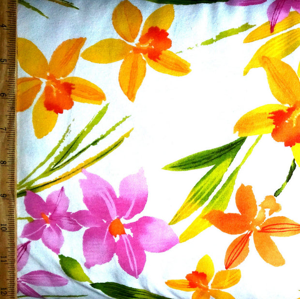 Daylily and Daffodils Cotton Knit Fabric