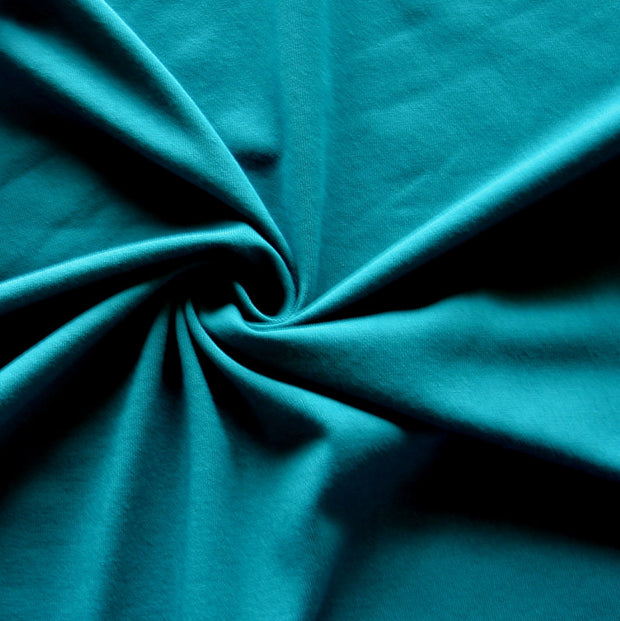Deep Lake Blue Bamboo Organic Cotton Spandex Jersey Knit Fabric