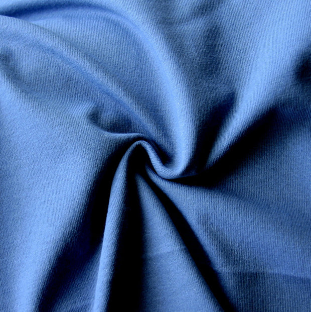 Denim Blue Tubular Cotton Jersey Knit Fabric