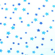 "Denim Blue and Teal Stars Cotton Knit Fabric - 32"" Remnant Piece"