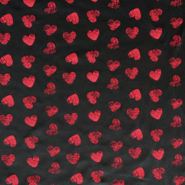 Red Distressed Hearts on Black Cotton Spandex Knit Fabric
