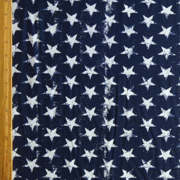 Distressed Patriotic Stars on Navy Nylon Spandex Swimsuit Fabric - SECONDS - Not Quite Perfect