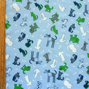 Four Legged Friends Cotton Knit Fabric, Blue Colorway