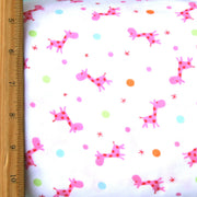 Dotty Giraffes Cotton French Terry Knit Fabric