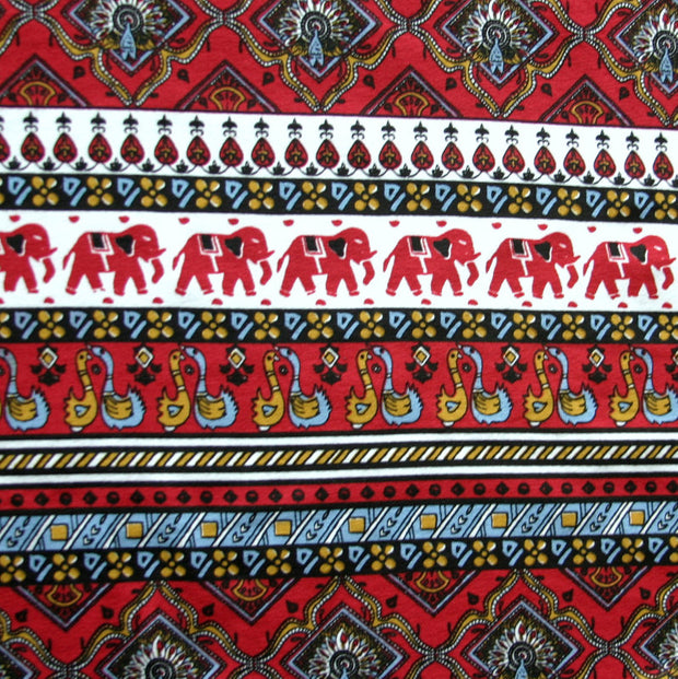 Elephants Marching Cotton Lycra Knit Fabric