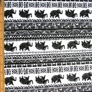 Elephant Mosaic Stripe Cotton Lycra Knit Fabric