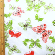 "Lacey Butterflies Cotton Knit Fabric, Green Colorway - 34"" Remnant Piece"
