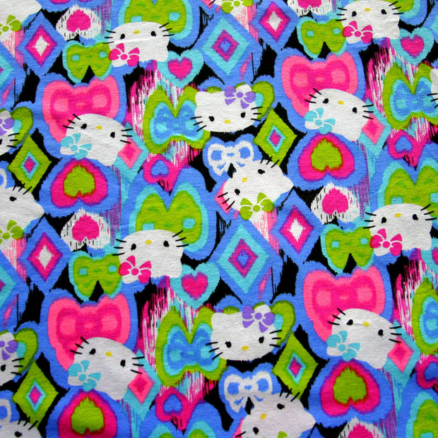 Our Favorite Kitty Diamonds and Stars Cotton Knit Fabric