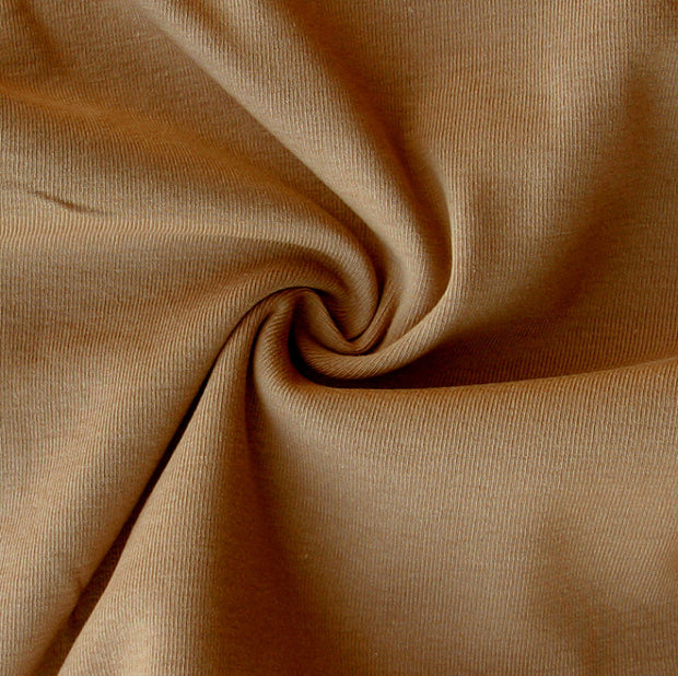 Fawn Brown Cotton Rib Knit Fabric