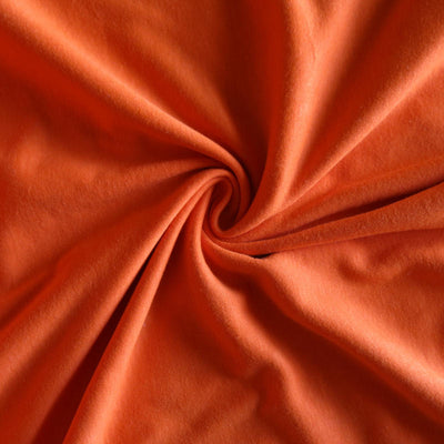 Fire Orange Cotton Interlock Fabric