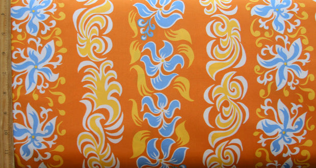Flame and Floral Vertical Stripe Microfiber Boardshort Fabric