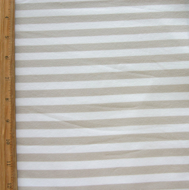 Flax Stripe Bamboo Cotton Lycra Knit Fabric