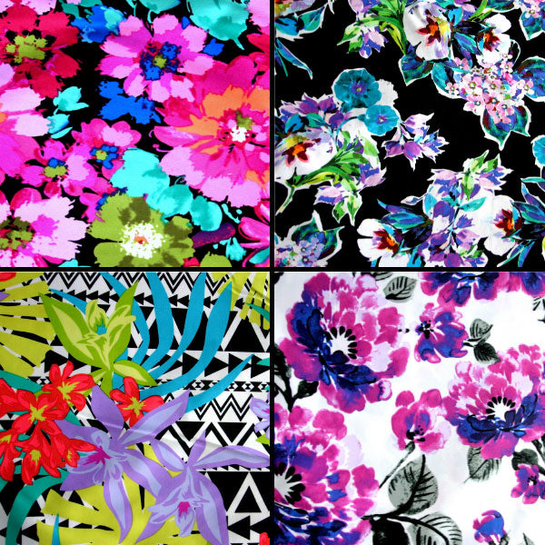 Floral Print and Solid Swimsuit Fabric LARGE Bundle