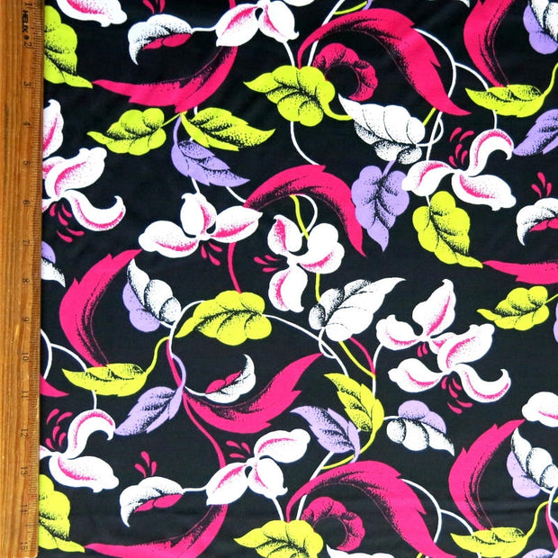 Floral Vines on Black Nylon Spandex Swimsuit Fabric