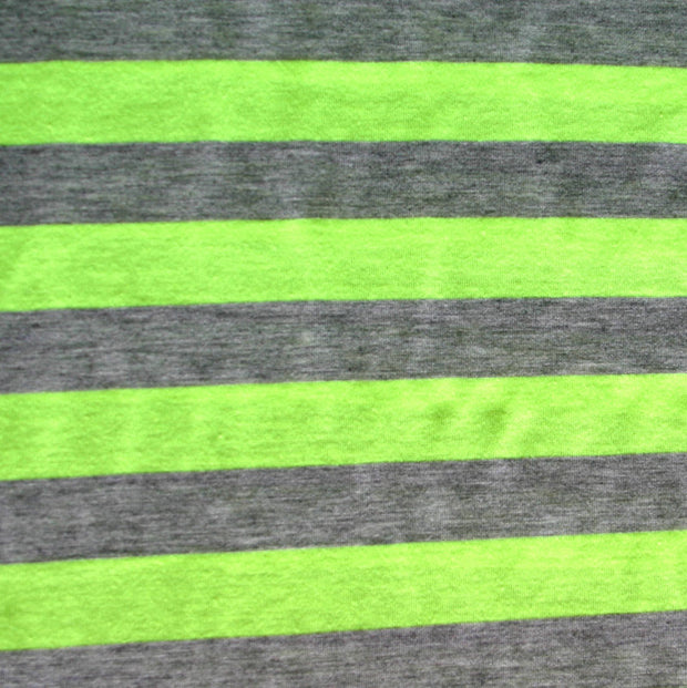 Fluorescent Green and Heathered Grey Stripe Knit Fabric