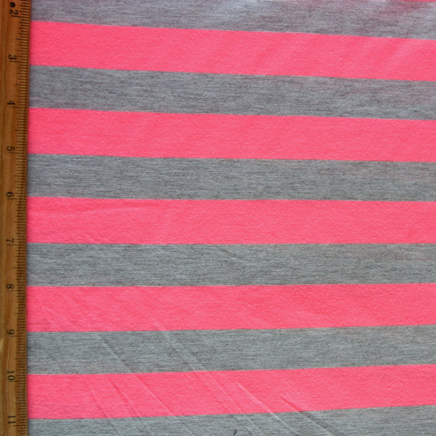 Fluorescent Pink and Heathered Grey Stripe Knit Fabric