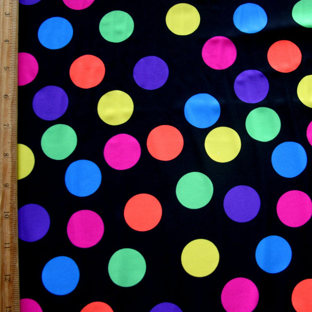 Fluorescent Polka Dots on Black Nylon Lycra Swimsuit Fabric