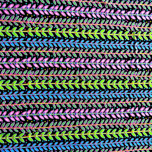 Fluorescent Leaves and Dots Stripe Nylon Spandex Swimsuit Fabric