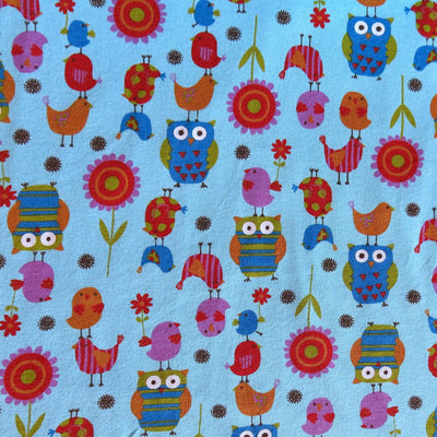 Friendly Flappers on Aqua Cotton Knit Fabric