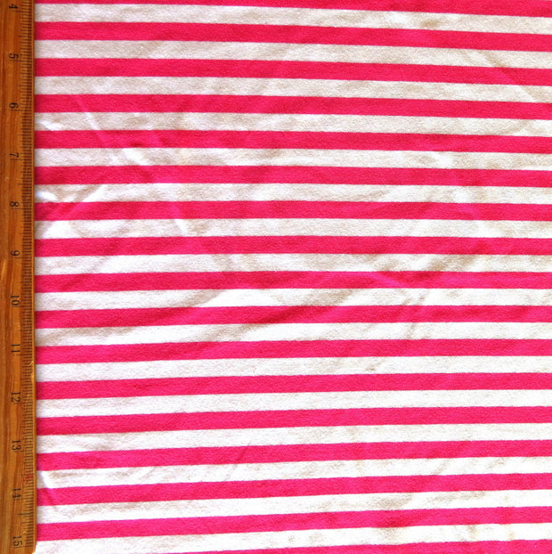 "Fuschia Pink and White 3/8"" wide Stripe Cotton Lycra Knit Fabric"