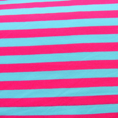 "Turquoise Blue and Fuschia 3/8"" wide Stripe Cotton Lycra Knit Fabric"