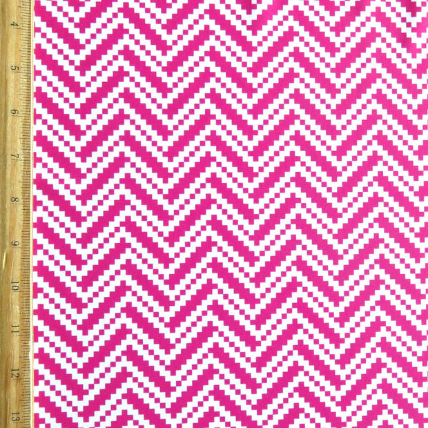 Fuschia/White Digital Zig Zags Nylon Spandex Swimsuit Fabric