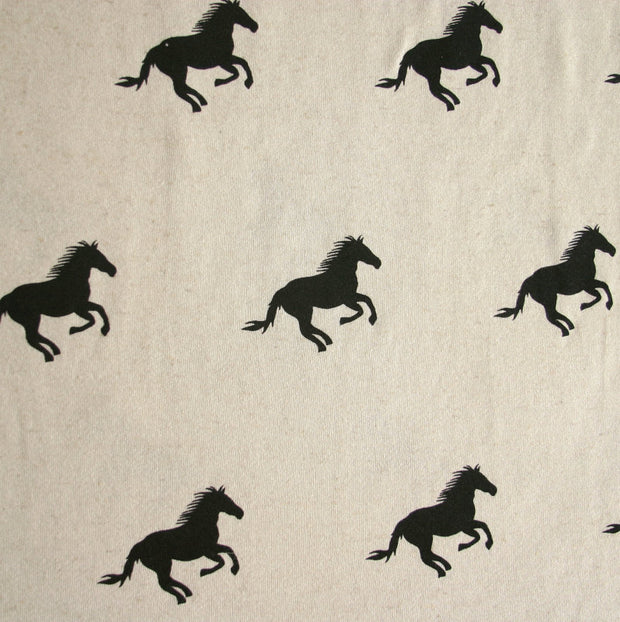 Galloping Horses Cotton French Terry Fabric