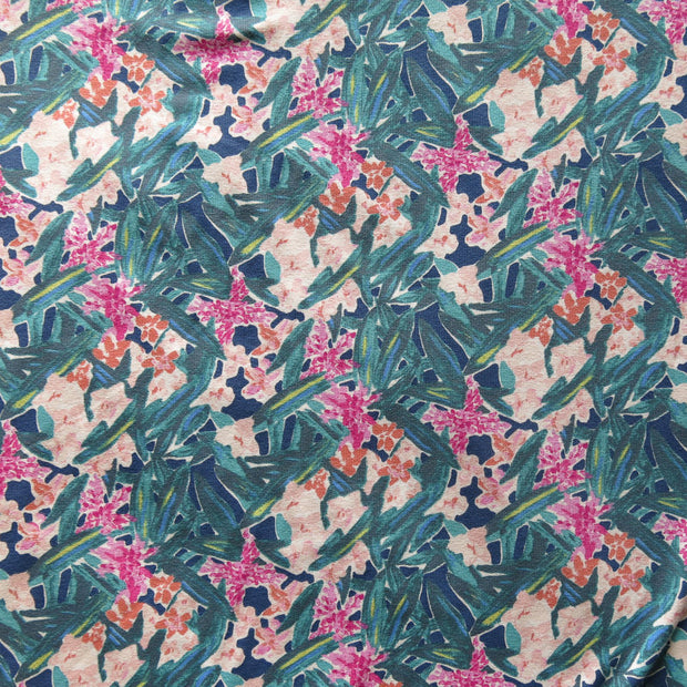 Garden Party Floral Cotton Lycra Jersey Knit Fabric