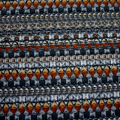 Gems and Metal Nylon Lycra Swimsuit Fabric