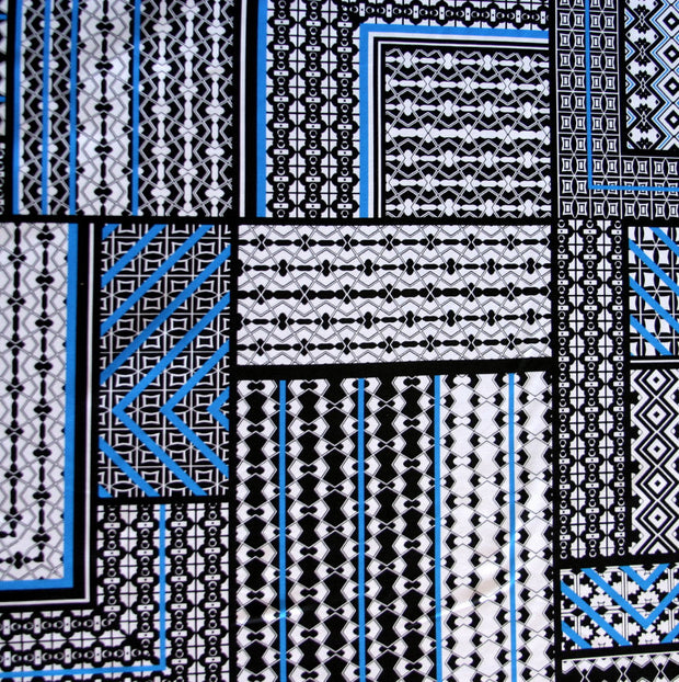 Geometrics Nylon Lycra Swimsuit Fabric, Blue Colorway