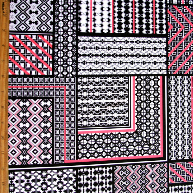 Geometrics Nylon Lycra Swimsuit Fabric, Pink Colorway