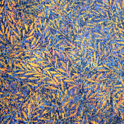 Gold Branches on Blue Nylon Spandex Swimsuit Fabric