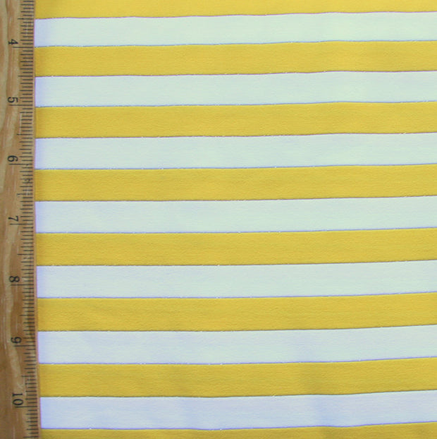 Goldenrod and White Stripes with Silver and Gold Accents Swimsuit Fabric