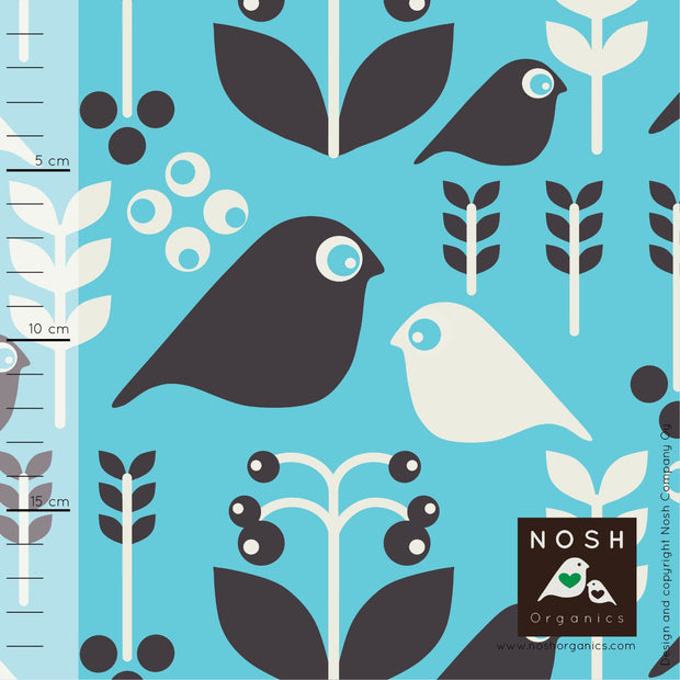 Good Morning Organic Cotton Lycra Knit Fabric by Nosh Organics, Capri/Graphite Colorway