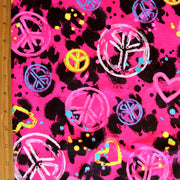 Graffiti Peace and Hearts Cotton Knit Fabric